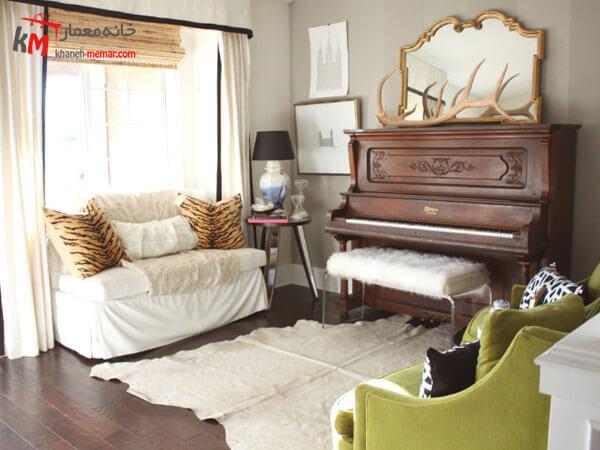 پیانو و تناسب آن با دکور اطراف بافت در دکور داخلی