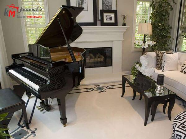 استفاده از پیانو عامل رنگی غالب در دکوراسیون استفاده از پیانو عامل رنگی غالب در دکوراسیون