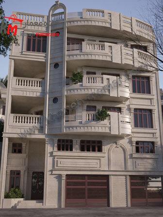 نمای ساختمان نمای ساختمان شمالی نقشه چهار طبقه مسکونی به سبک کلاسیکچهار طبقه مسکونی به سبک کلاسیک