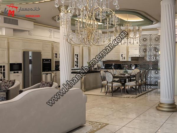 طراحی دکور کلاسیک در قسمت ناهار خوری که دارای دو لوستر بزرگ بوده که نورپردازی خانه را هرچه بهتر میکند .