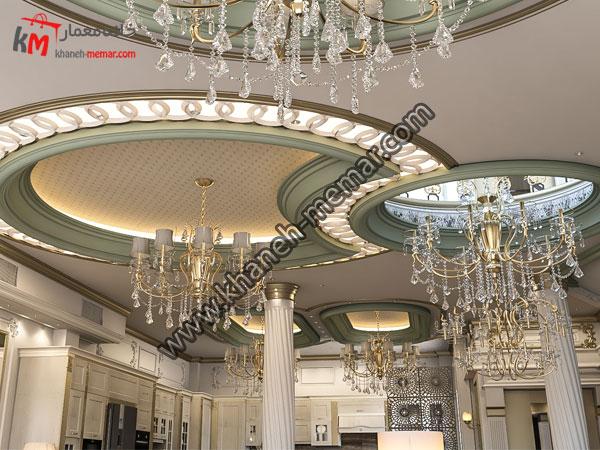 طراحی سقف ساختمان به همراه لوسترهای جذاب و دیدنی