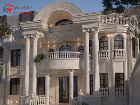 نمای ساختمان دوبلکس چهارخوابه به سبک کلاسیک