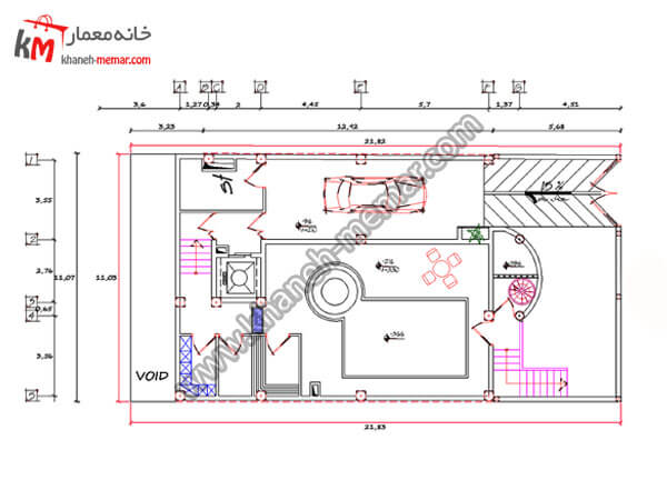 ریز فضاهای طبقه زیرزمین پروژه 736 خانه دوبلکس مدرن