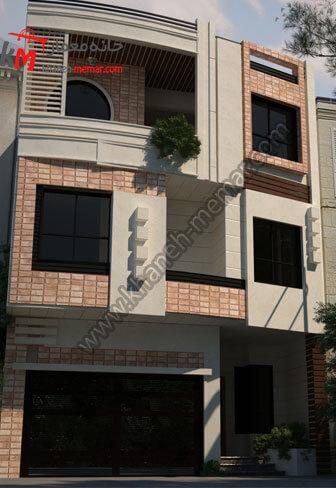 نمای پلان ساختمان سه طبقه مسکونی به سبک مدرن