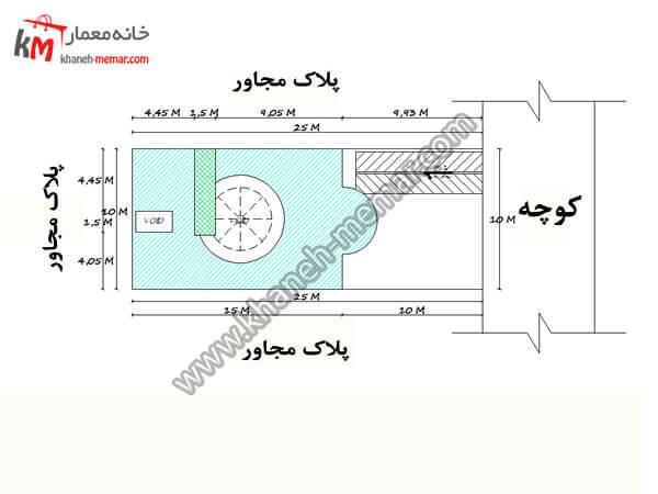 سایت پلان نقشه خانه سه طبقه پروژه 741