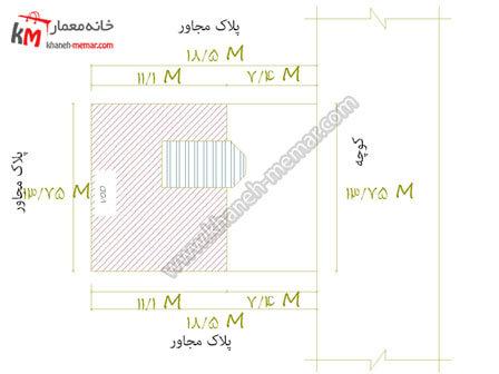 نقشه ساختمان یک طبقه حیاط دار