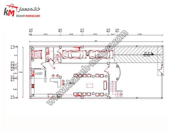 ریز فضاهای زیرزمین نقشه خانه سه طبقه پروژه 741