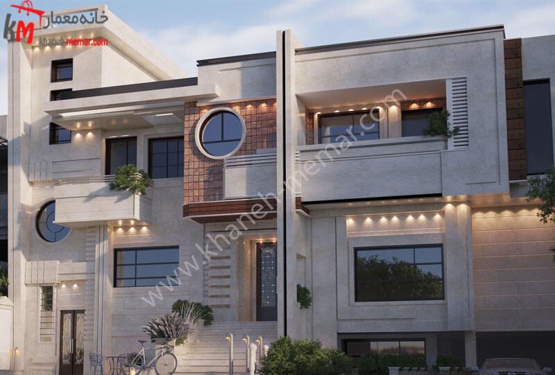 طراحی نمای ساختمان به سبک مدرن با تلفیق آجر و سنگ با نورپردازی هالوژن و درب به ساختمان .