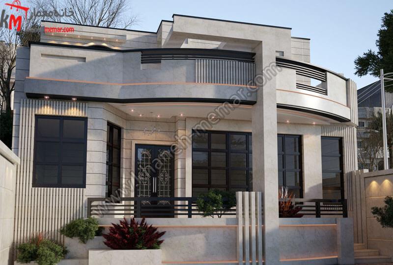 طراحی بسیار شیک که به سبک نئوکلاسیک می باشد و کارشده با سنگ می باشد که این سازه دارای یک حیاط بزرگ میباشد که این سازه در بالاتر از حیاط قرار دارد و دارای یک بهارخواب بزرگ می باشد که بسیار زیبا می باشد .