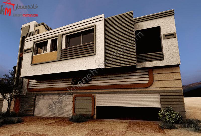 طراحی نمای شیک به سبک مدرن که کارشده از تلفیقی با آجر و سنگ می باشد که این سازه دارای دو طبق مجزا و دو پارکینگ مجزای سرپوشیده می باشد ، موقعیت دسترسی این ساختمان شمالی و درب به ساختمان می باشد .