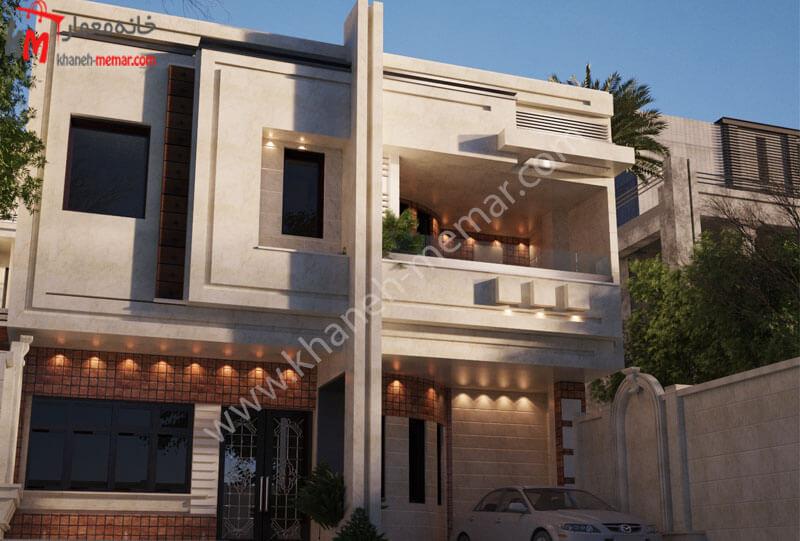 طراحی نما به سبک مدرن که نمای این ساختمان ترکیبی از سنگ و آجر و با نورپردازی با هالوژن میباشد که در دارای یک تراس بزرگ نیز می باشد .