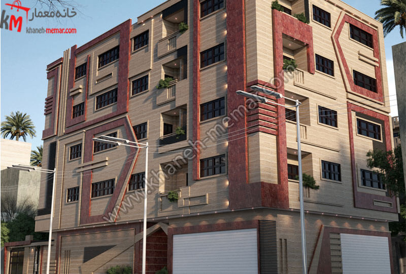 نمای ساختمان به سبک مدرن که به صورت مجتمع مسکونی طراحی شده و کار شده با آجر می باشد ، دارای پارکینگ بوده و تمام واحدها دارای بالکن می باشند .