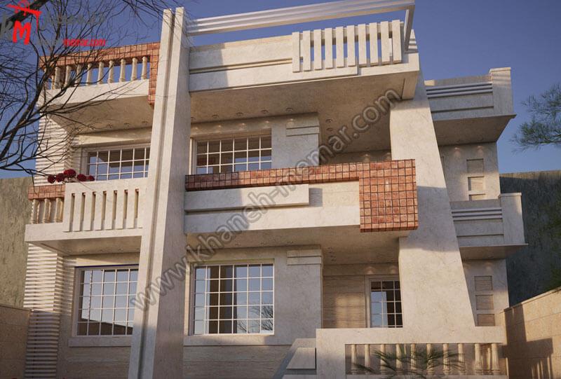 طراحی نمای زیبا به سبک مدرن و کار شده با سنگ و آجر که در دو طبقه مجزا طراحی شده و دارای پارکینگ سرپوشیده و موقعیت دسترسی شمالی می باشد .
