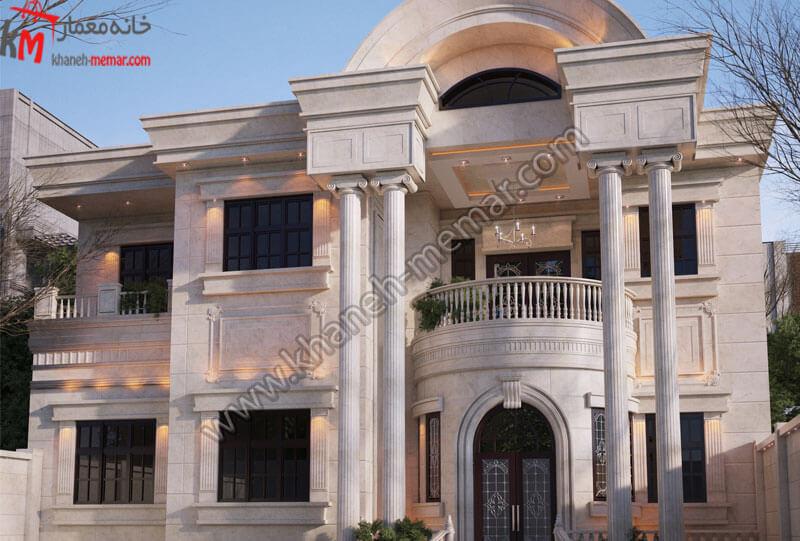 طراحی نمای نئوکلاسیک با سنگ و در دو طبقه مجزا که دارای یک تراس بزرگ با ویویی مناسب میباشد که دارای پارکینگ سرپوشیده و دارای موقعیت دسترسی شمالی میباشد .