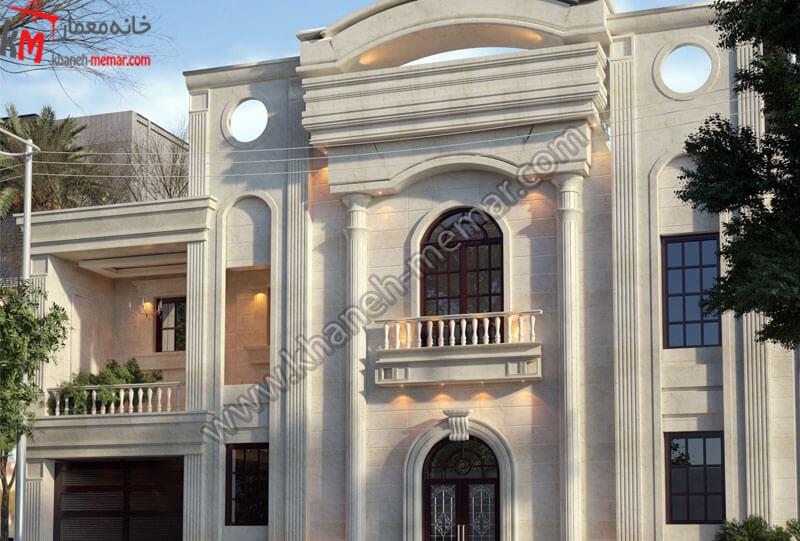 طراحی نمای فوق العاده زیبا به سبک کلاسیک که تلفیقی از سنگی و رومی می باشد که این سازه در دو طبقه مجزا و دارای تراس می باشد و موقعیت دسترسی شمالی دارد .