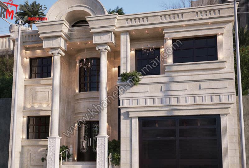 طراحی نمای ساختمان به سبک نئوکلاسیک که طراحی آن تلفیقی از سنگی و رومی میباشد که بسیار زیبا و شیک می باشد ، موقعیت دسترسی این سازه شمالی می باشد و دارای پارکینگ سرپوشیده میباشد و دارای طبقات مجزا می باشد .