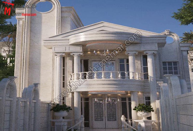 طراحی نما به سبک کلاسیک کار شده با سنگ رومی دارای دو طبقه و یک تراس بزرگ و موقعیت دسترسی جنوبی .