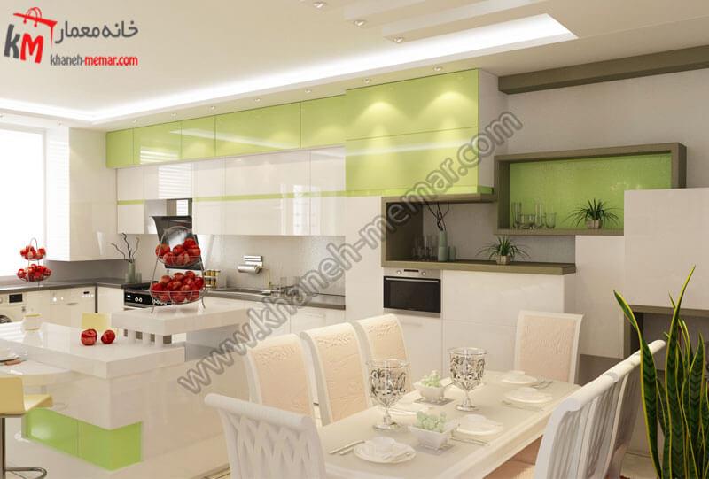 طراحی دکور آشپزخانه که بسیار مدرن است که میز ناهار خوری به آشپزخانه نزدیک میباشد و که طراحی این آشپزخانه به شکل مستطیل می باشد .