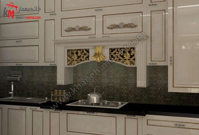 طراحی دکور کابیت ها به سبک کلاسیک و کاربرد رنگ های طلایی و سفید و سنگ اپنی به رنگ مشکی که هارمونی زیبایی را ایجاد کرده است .