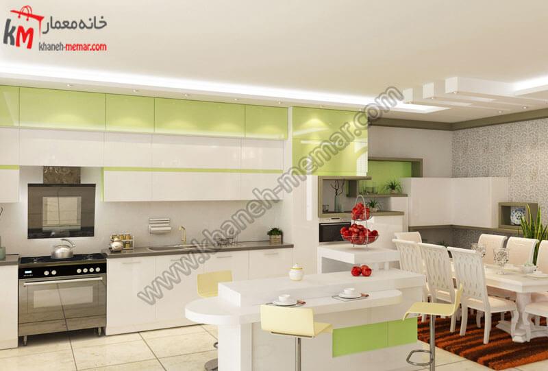 طراحی دکور آشپزخانه بسیار زیبا با طراحی کانتر و رنگ های سفید و سبز و هالوژن هایی نور پردازی را بسیار زیبا نمایش میدهند .