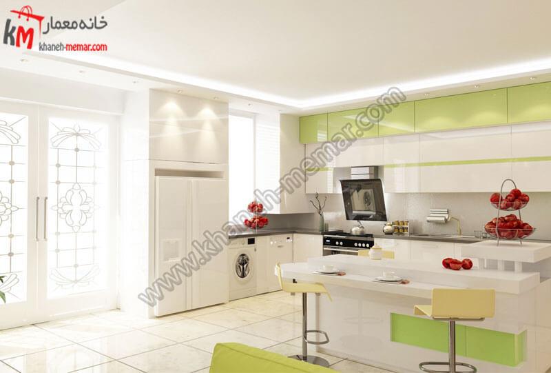 دکور آشپزخانه به رنگ سفید و سبز و کف سرامیک سفید و نورپردازی زیبا .