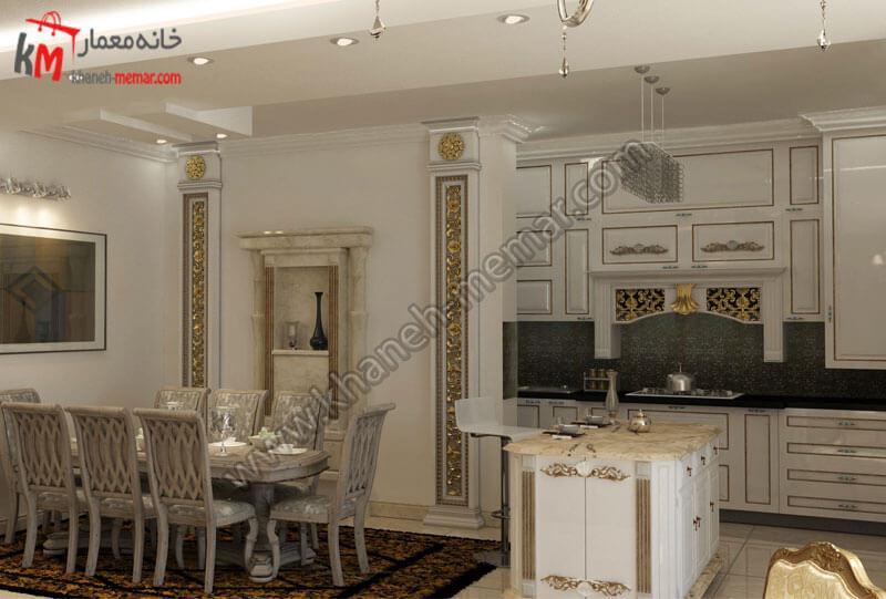 طراحی میز ناهار خوری که پشت آن ستون هایی به سبک کلاسیک کار شده و این میز در نزدیک کانتر آشپزخانه تعبیه شده است .