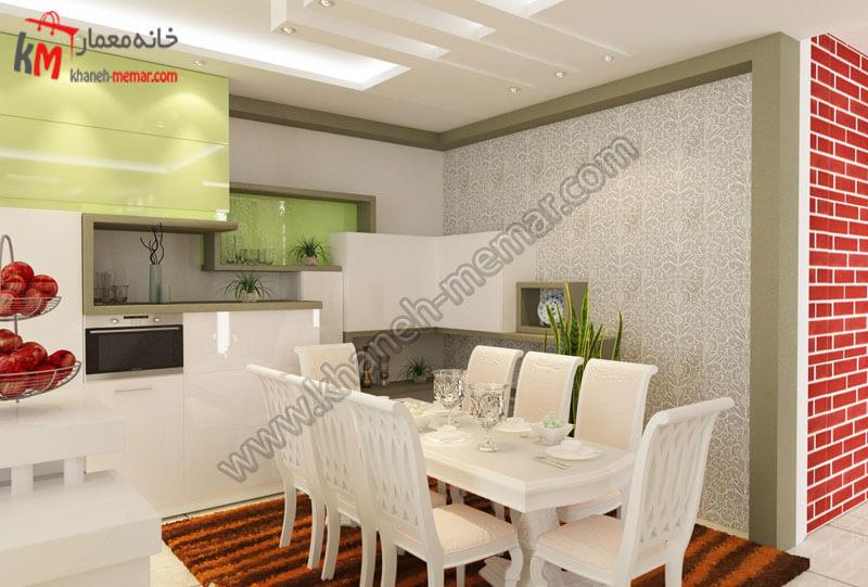طراحی دکور ناهار خوری به همراه کاغذ دیواری و کف پوش متناسب با دکور .