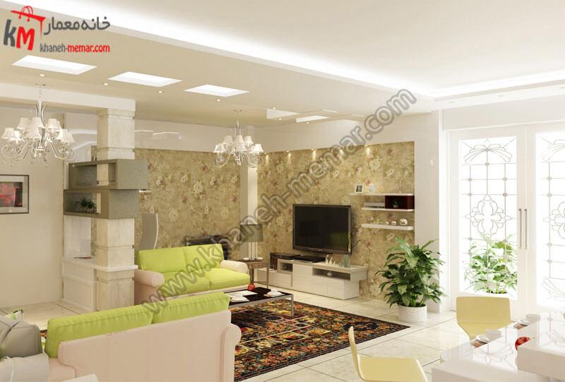 استفاده از کاغذ دیواری در پشت میز تی وی به سبک مدرن و زیبا
