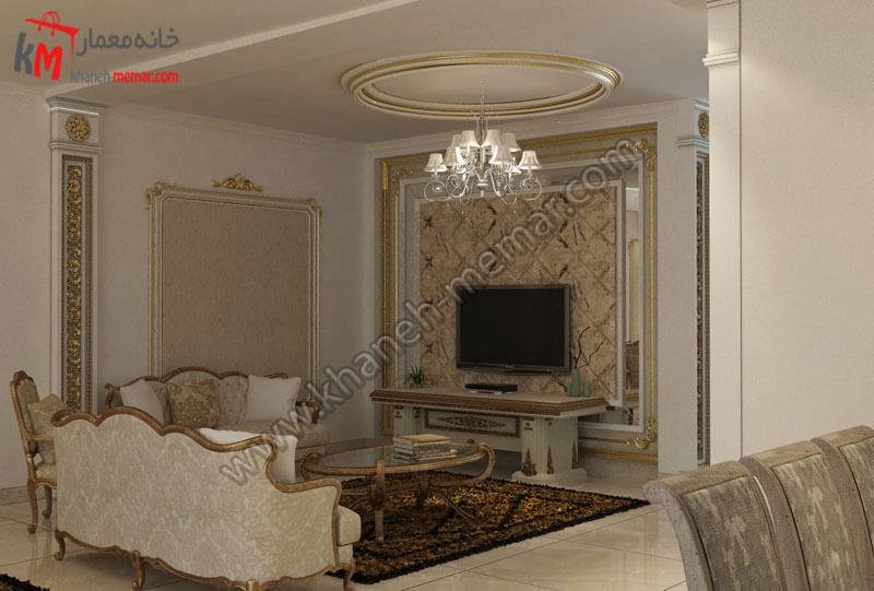 طراحی دکور به سبک کلاسیک به همراه میز تی وی که یک نشیمن خصوصی را ایجاد کرده و پشت این میز تی وی کاغذ دیواری طراحی شده ئ دور این کاغذ دیواری با آینه هایی کوچک طرح زیبایی را ایجاد کرده است .