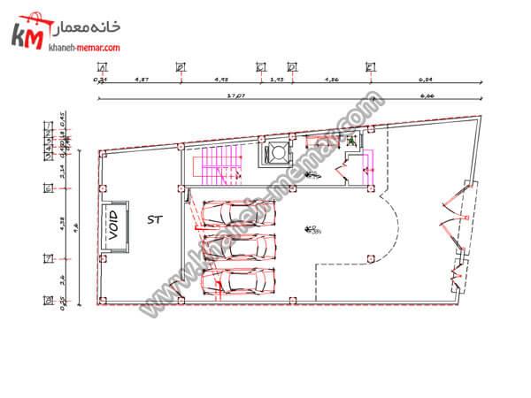 ریز فضاهای پروژه 885 طبقه همکف