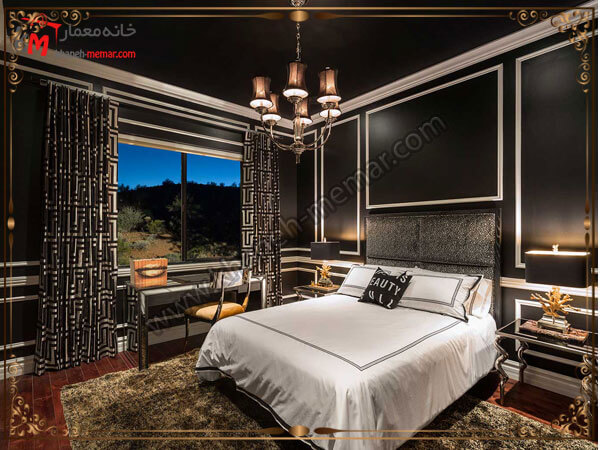 نمای اتاق خواب در شب با لوستر