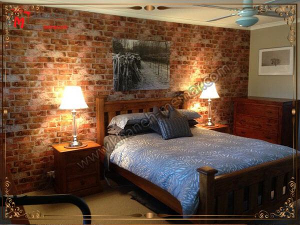 استفاده از رنگهای گرم برای دکور اتاق خواب همراه با نور پردازی زیبا کاغذ دیواری اتاق خواب بزرگسال