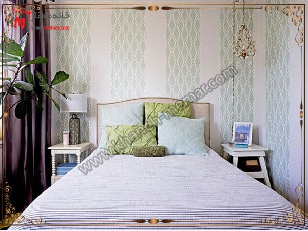 کاغذ دیواری بصورت یک در میان کارشده است مدل های شیک و منحصر به فرد کاغذ دیواری اتاق خواب