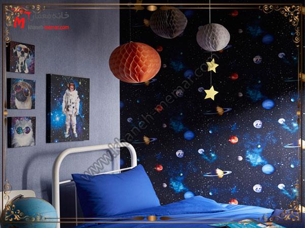 کاغذ دیواری اتاق خواب کودک آسمان شب با استفاده از کاغذ تزیینی در اتاق خواب