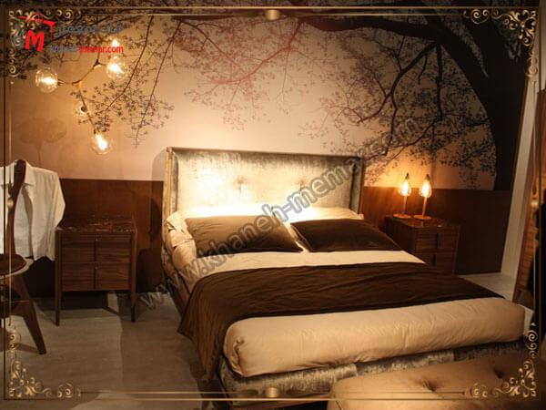 نورپردازی زیبای اتاق خواب بر روی کاغذ کاغذ دیواری اتاق خواب بزرگسال