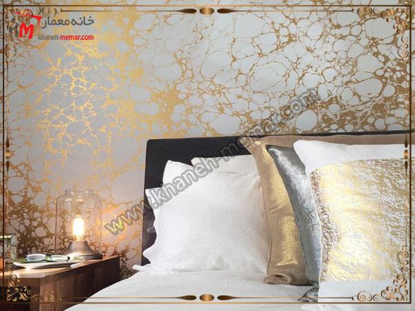 رگه های طلایی استفاده شده برای تزیین اتاق خواب کاغذ دیواری اتاق خواب بزرگسال