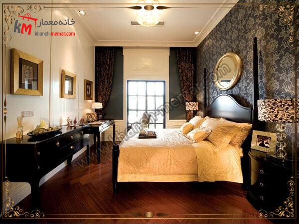 استفاده از رنگ های تیره برای تزیین اتاق خواب کاغذ دیواری اتاق خواب بزرگسال