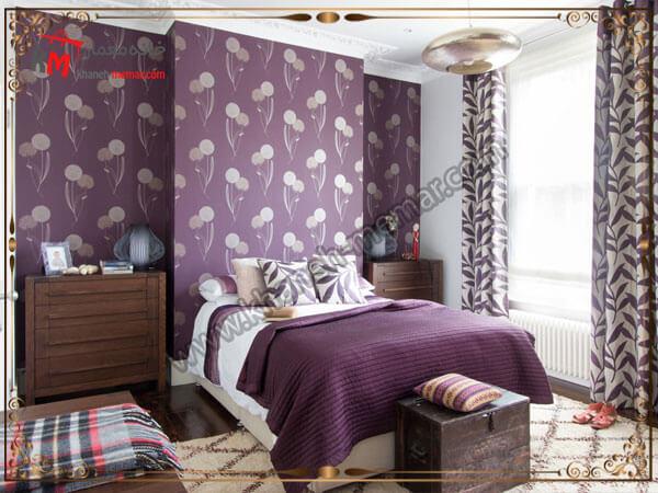 تزیین قسمتی از اتاق با کاغذ طرح دار بنفش مدل های شیک و منحصر به فرد کاغذ دیواری اتاق خواب