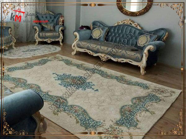 کاور زیبای فرش کرم آبی