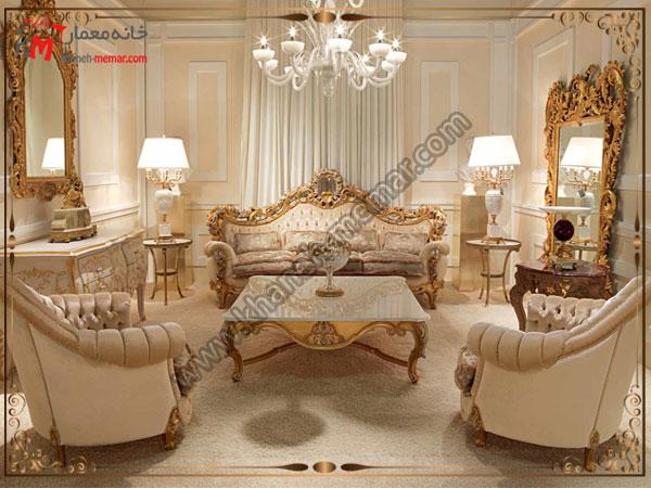 مدلی از مبلمان شیک سلطنتی با رنگ طلایی