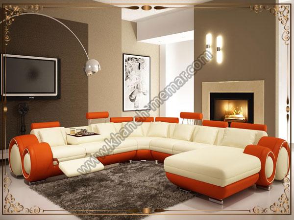 انواع طرحهای مبلمان راحتی مدل L با رنگ کرم و نارنجی