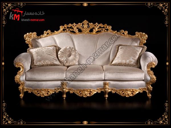 یک مدل مبل سلطنتی رنگ روشن و طلایی براس پذیرایی