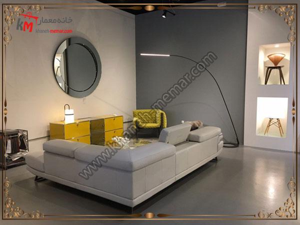مدل مبل راحتی سالن نشیمن مدل L با رنگ خاکستری
