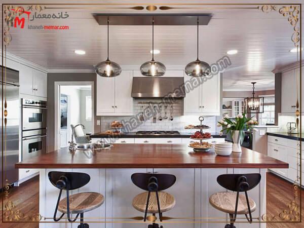 لوستر نصب شده بر روی میز ناهار خوری لوستر آشپزخانه را در کجای آشپزخانه نصب کنیم؟