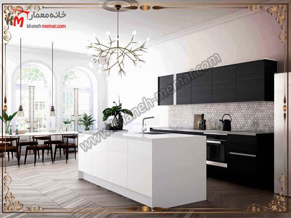 لوستر نصب شده بالای جزیره آشپزخانه لوستر آشپزخانه را در کجای آشپزخانه نصب کنیم؟
