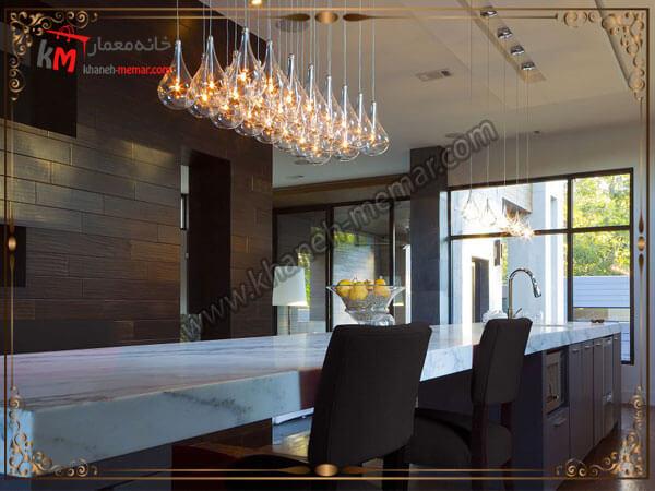 نصب یک مدل لوستر حبابی بر روی میز ناهار خوری لوستر آشپزخانه را در کجای آشپزخانه نصب کنیم؟
