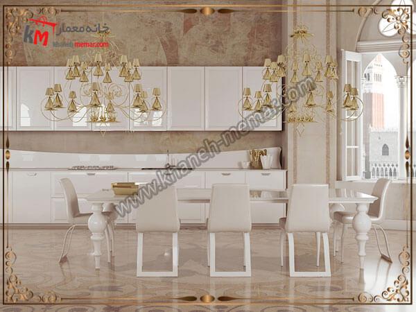 نوعی از لوستر شیک وبا طراحی شلوغ و زیبا جنس لوستر آشپزخانه