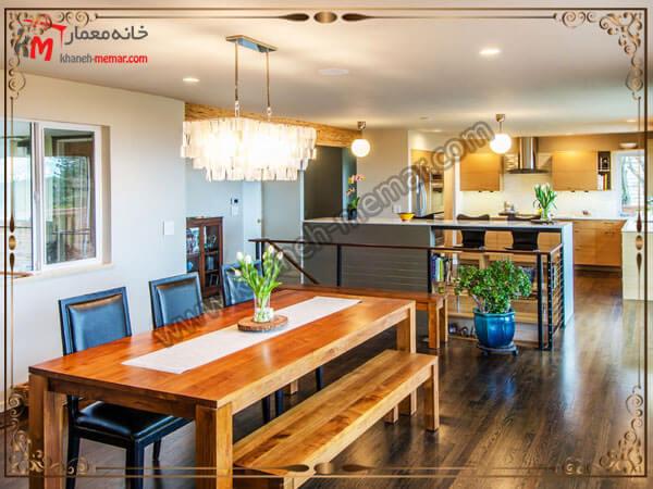 دکوراسیون داخلی آشپزخانه همراه با چراغهای زیبا لوستر آشپزخانه