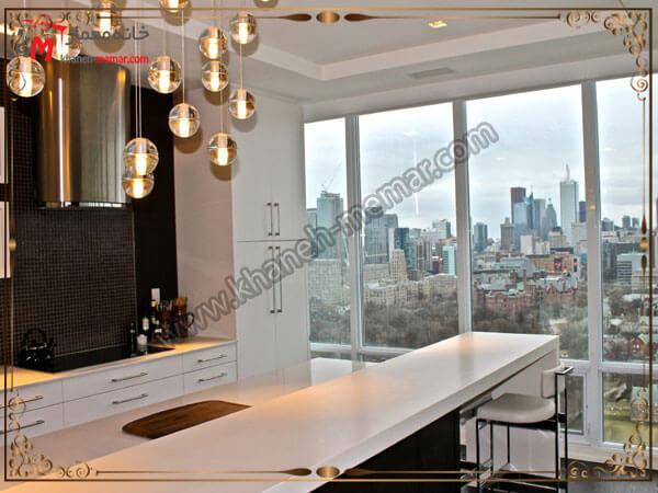 لوستر آشپزخانه متناسب با طراحی داخلی بصورت تکه تکه انواع مدل های لوستر