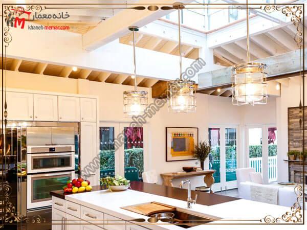 قرار دادن لوستر آشپزخانه روی جزیره لوستر آشپزخانه را در کجای آشپزخانه نصب کنیم؟